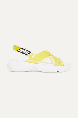 Prada Logo-embossed Rubber-trimmed Leather And Pvc Sandals - Yellow