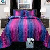 Lavish Home Striped Blue and Plum Metallic Queen 3-Piece Comforter Set