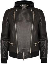 Balmain Black Hooded Leather Biker Jacket