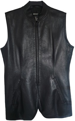 DKNY Black Leather Leather Jacket for Women