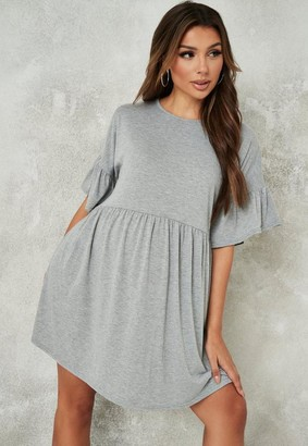 Missguided Gray Frill Sleeve Maternity Smock Dress