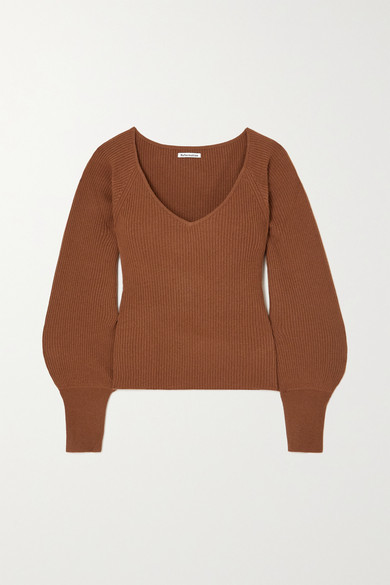 Reformation Hart Ribbed Cashmere Sweater - Brown