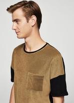 MANGO MAN Cotton towel texture t-shirt