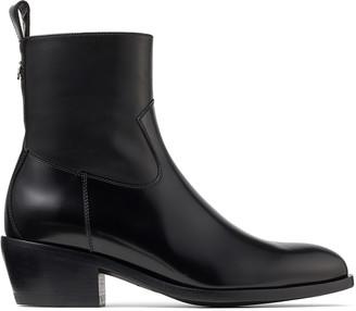 Jimmy Choo JESSE/F Black Calf Leather Cowboy Boots