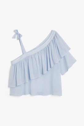 Monki Asymmetric ruffle shoulder top