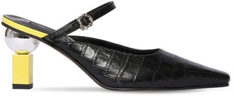 YUUL YIE 70mm Croc Embossed Leather Mules
