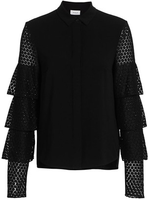 Akris Punto Tiered Lace-Sleeve Blouse
