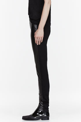 McQ Black Denim & Leather Stretch jeans