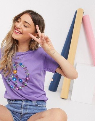 Daisy Street relaxed t-shirt with peace sign print in purple