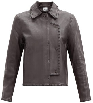 Ganni Double-breasted Whipstitched-leather Jacket - Dark Brown