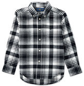 Ralph Lauren Long-Sleeve Plaid Cotton Shirt, White/Black, Size 2-7