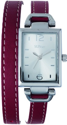 Sunset2482Ladies WatchSilver Dial Red Leather Strap