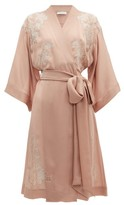 Carine Gilson Lace-trimmed Kimono-style Silk Robe - Womens - Pink