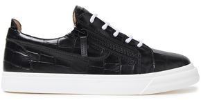 Giuseppe Zanotti London Zip-detailed Croc-effect Leather Sneakers