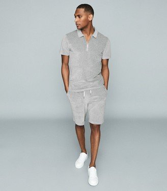 Reiss Dalston - Towelling Zip Neck Polo Shirt in Grey
