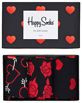 Happy Socks Valentine's Day Sock Gift Set, Pack Of 3, One Size, Black/red