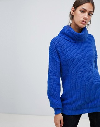 B.young high neck sweater-Blue