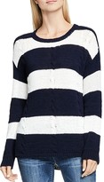 Two by VINCE CAMUTO Stripe Drop Shoulder Cable Sweater