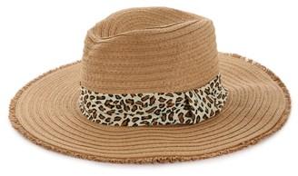 Kelly & Katie Frayed Edge Leopard Panama Hat