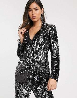 Skylar Rose longline blazer in sleek sequin TWO-PIECE-Black
