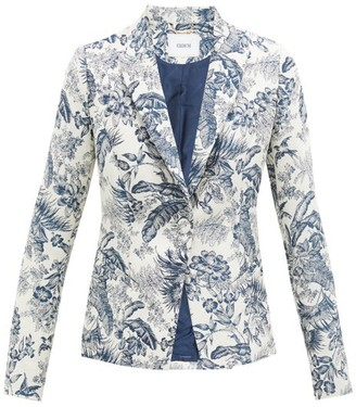 Erdem Iris Toile-de-jouy Single-breasted Jacquard Jacket - Cream Navy