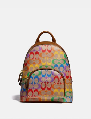 Coach Carrie Backpack 23 In Rainbow Signature Canvas