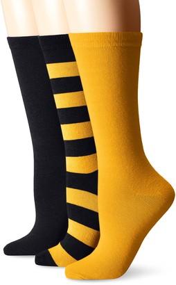 Muk Luks Women's Game Day Sport Stripe Crew Socks Unisex-3 Pair Pack