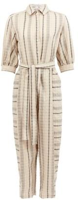 Palmer Harding Palmer//harding - Sundra Striped Linen-blend Jumpsuit - Beige Stripe