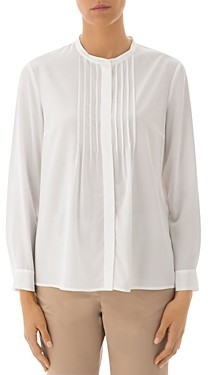 Peserico Pleated Silk-Blend Button-Front Blouse