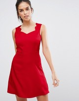 Daisy Street Skater Dress With Scallop Edge Strap