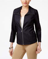 JM Collection Petite Denim Zip-Up Blazer, Only at Macy's