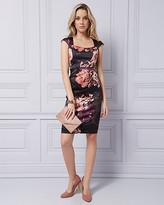 Le Château Floral Print Satin Square Neck Dress