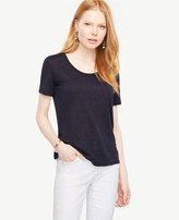Ann Taylor Scoop Neck Linen Sunday Tee