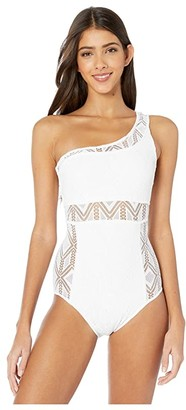 Becca by Rebecca Virtue Color Play Adeline Asymmetrical Crochet One-Piece (White) Women's Swimsuits One Piece