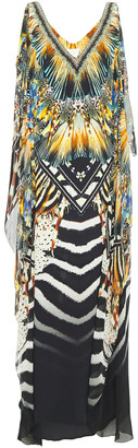 Camilla Layered Crystal-embellished Printed Chiffon And Silk Crepe De Chine Maxi Dress