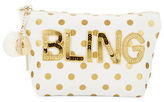 Bow And Drape Bling Embellished Dotted Pouch