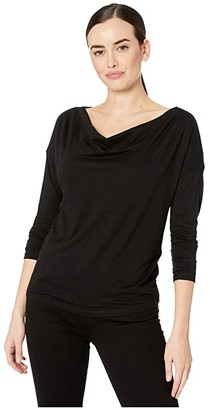 Lilla P Flame Drape Front Tee (Black) Women's Clothing
