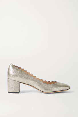 Chloé Lauren Scalloped Metallic Cracked-leather Pumps - Silver