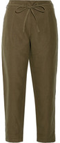 Ulla Johnson Agata Cotton And Linen-blend Twill Straight-leg Pants - Army green