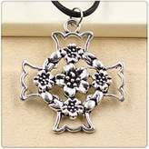 Nobrand No brand Fashion Tibetan Silver Pendant cross flower Necklace Choker Charm Black Leather Cord Handmade Jewlery