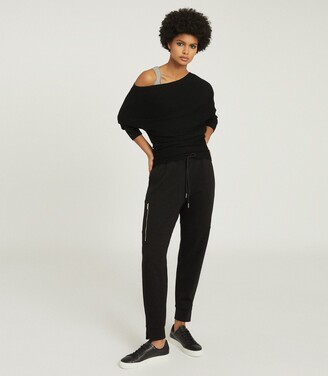 Reiss Lorna - Asymmetric Knitted Top in Black