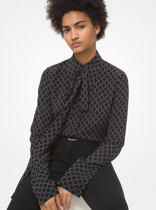 Michael Kors Collection Chain Link Silk Crepe De Chine Tie-Neck Blouse