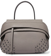 Tod's Wave Mini Embellished Textured-leather Tote - Anthracite