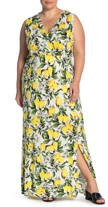Junarose Jrslike Lemon Print Maxi Dress (Plus Size)