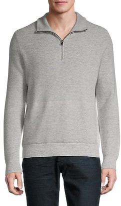 Vince Thermal Wool Cashmere Quarter-Zip Pullover