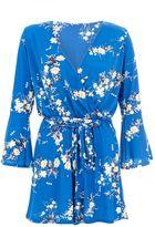 Quiz Royal Blue Floral Playsuit