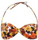 Dodo Bar Or Kayla Twist-front Floral-print Bandeau Bikini Top - Womens - Brown Print