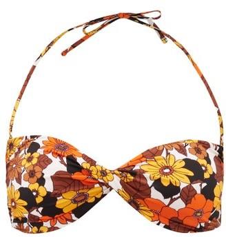 Dodo Bar Or Kayla Floral-print Twisted Bandeau Bikini Top - Brown Print