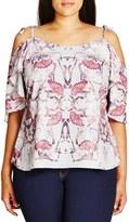 City Chic Plus Size Women's 'Flutter Mystery' Print Tie Shoulder Top