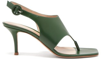 Gianvito Rossi Slingback 70 Square-toe Leather Sandals - Green